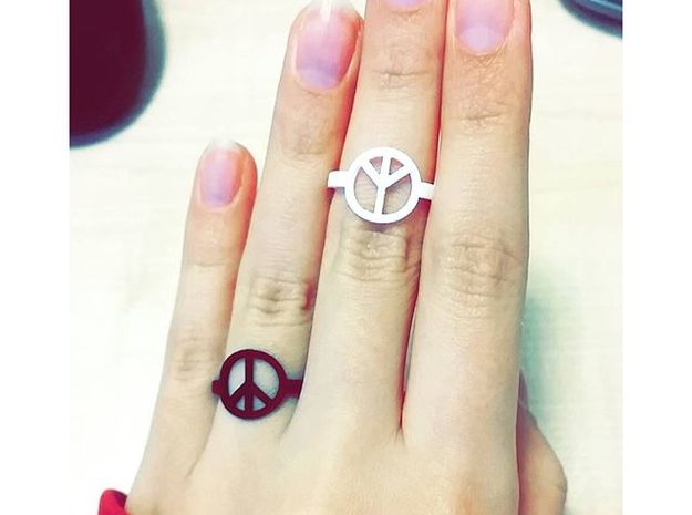 Peace Ring Size 5.5 in Black Strong & Flexible