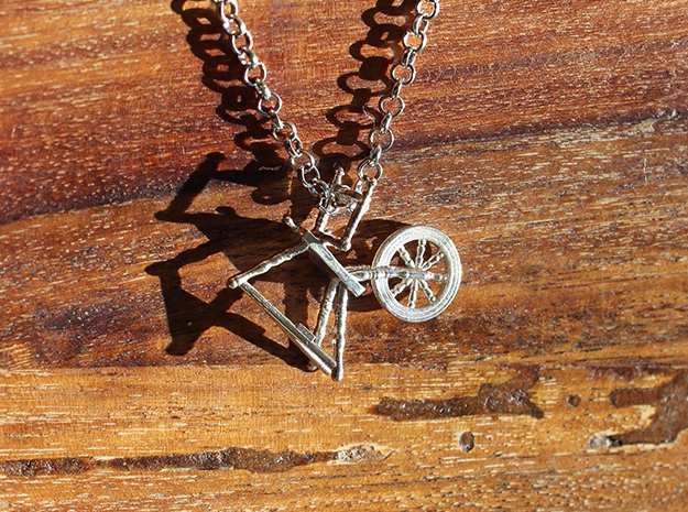 Spinning Wheel Pendant in Polished Silver