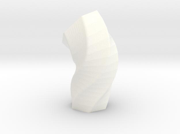 Melted Hexagon Vase in White Processed Versatile Plastic