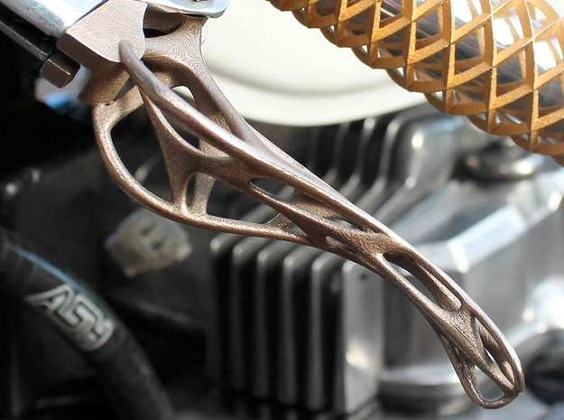 Trellis Brake Lever Cable in Polished Bronzed Silver Steel