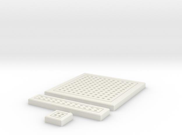 SciFi Tile 12 -  Square Grating in White Natural Versatile Plastic