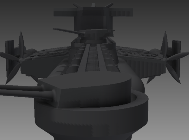 1/1000 LLK Flying Battlecruiser 3d printed The gun turrets trained on a target.  The rows of anti-aircraft batteries can be clearly seen, if you know what you're looking at.