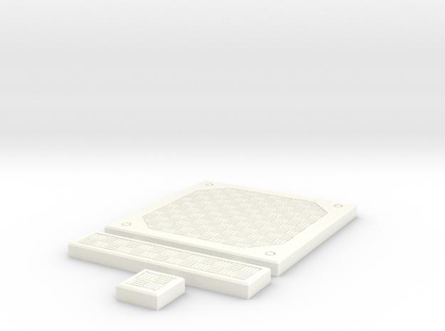 SciFi Tile 23 - Alternate Diamond plate in White Processed Versatile Plastic
