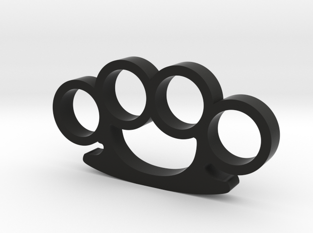 Round Knuckle Duster Ornament in Black Strong & Flexible