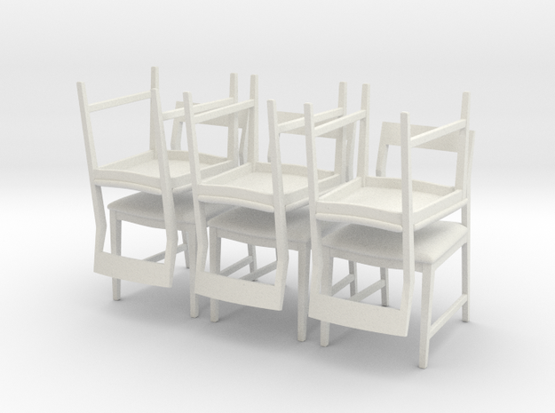 1:24 Danish Modern Chair Set in White Natural Versatile Plastic