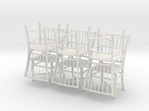 1:24 French Country Chair Set in White Natural Versatile Plastic