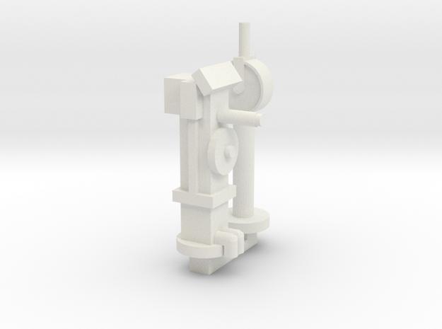 Wheel Mount & Telegraph in White Natural Versatile Plastic