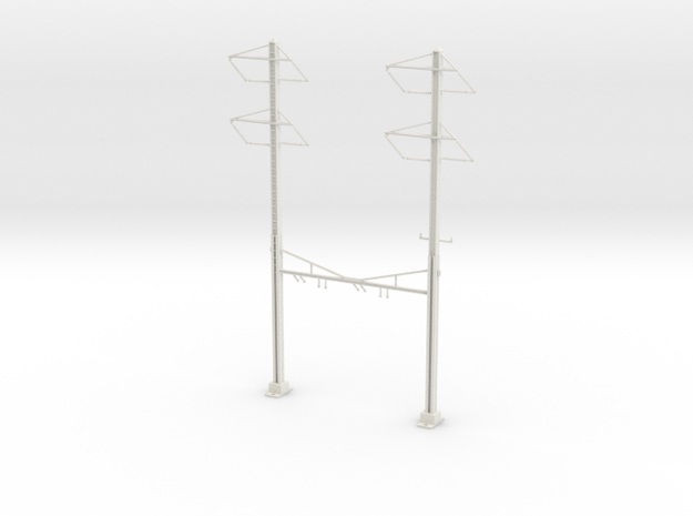 PRR CATENARY HO SCALE 2TRK CURVED STEADY 2-2PH in White Natural Versatile Plastic