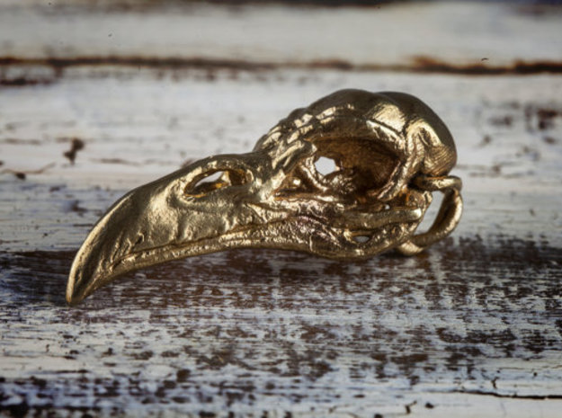 Raven skull Pendant in Raw Brass