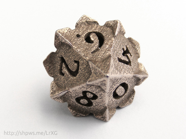 'Starry' D10 balanced die  in Stainless Steel
