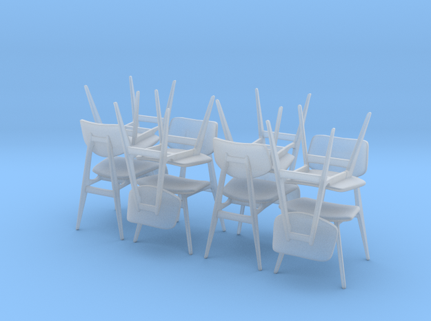 1:48 C 275 Chair Set of 8 in Smooth Fine Detail Plastic