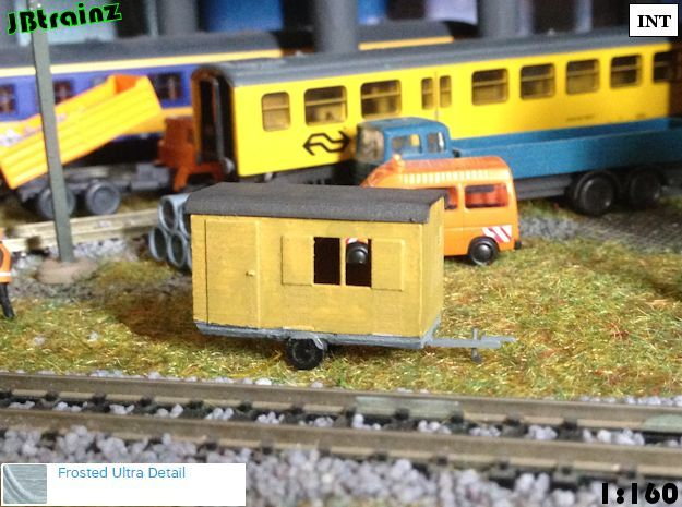 2 construction trailers (1:160) in Smooth Fine Detail Plastic