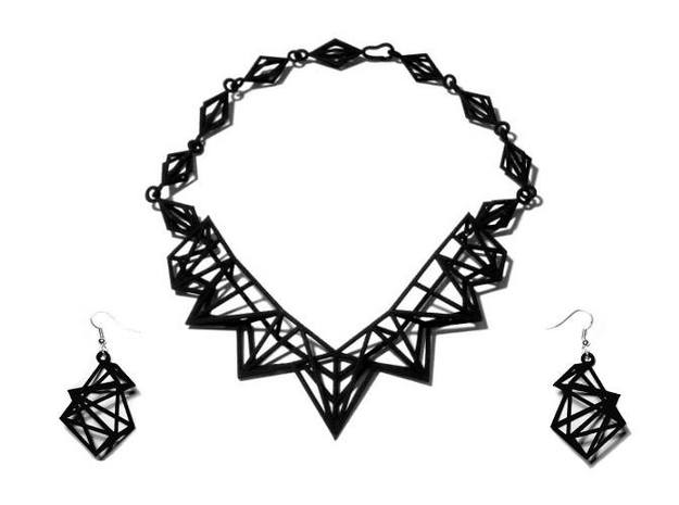 Radical Necklace 3d printed FutureChique Necklace + Geo Lux Earrings - BS&F