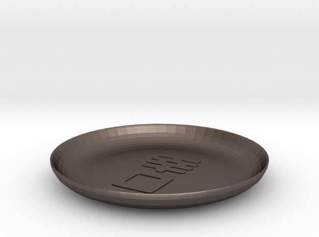 4.5 inch Happy Mouth Saucer in Polished Bronzed Silver Steel