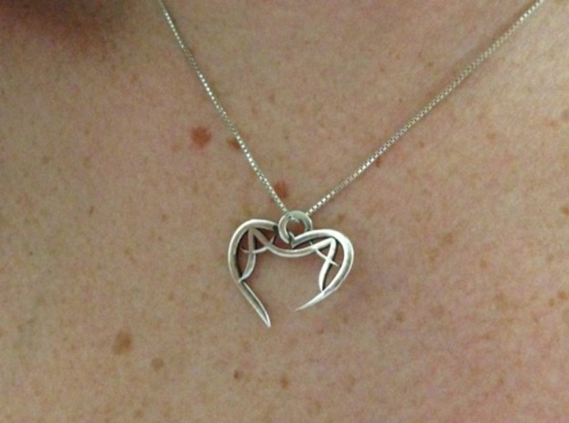 Monogram Open Heart Pendant 3d printed A&A Open Heart Pendant (Silver Glossy)