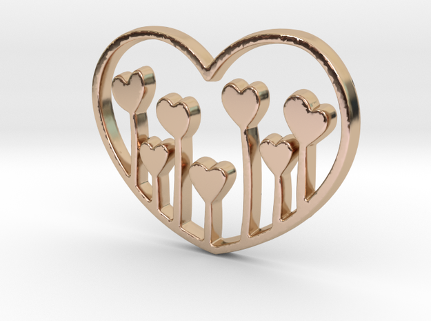 Heart's Garden Pendant - Amour Collection in 14k Rose Gold Plated Brass