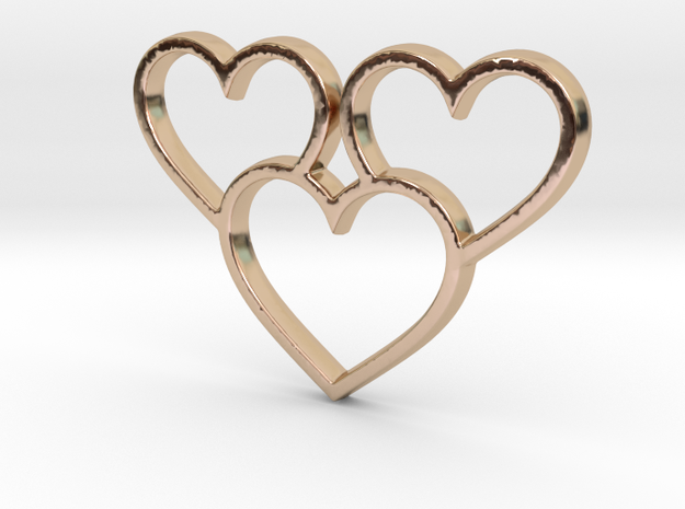 Trio of Hearts Pendant - Amour Collection in 14k Rose Gold Plated Brass
