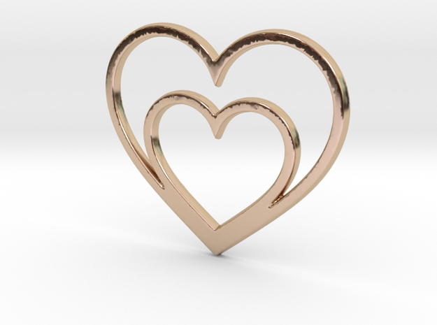 One Heart for Two Pendant - Amour Collection in 14k Rose Gold Plated Brass