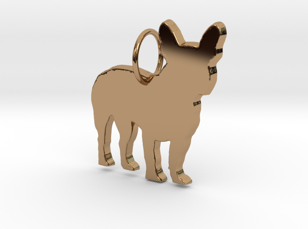 French Bulldog silhouette pendant made by 3d print in Polished Brass