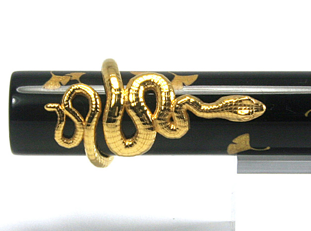 Snake Fountain Pen Roll-Stopper M 15 mm v3 in 18k Gold Plated Brass