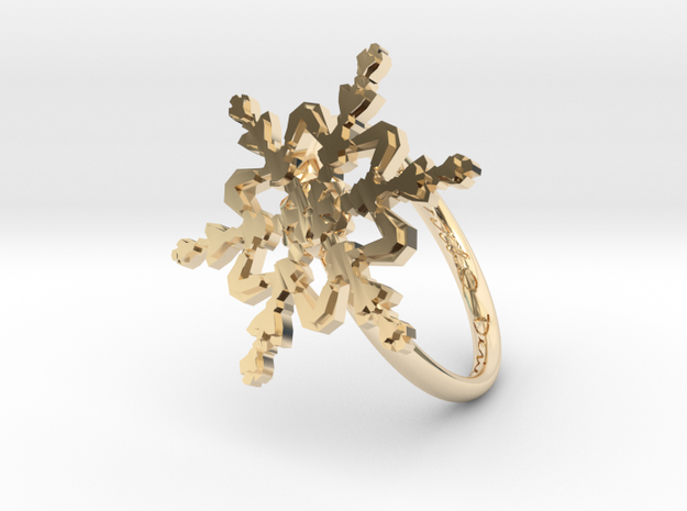 Snowflake Ring 2 d=18mm h21d18 in 14K Yellow Gold