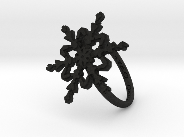 Snowflake Ring 2 d=18mm h21d18 in Black Acrylic