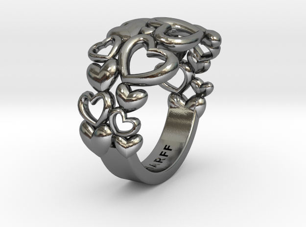 Heart By Heart Ring No2 57 in Polished Silver