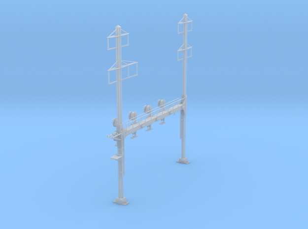 CATENARY PRR BEAM SIG 4 TRACK 2-3PHASE N SCALE  in Frosted Ultra Detail