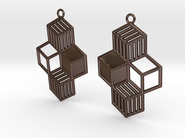 Cubic Earrings in Polished Bronze Steel