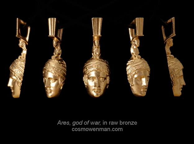 Ares, god of war, pendant in Natural Bronze