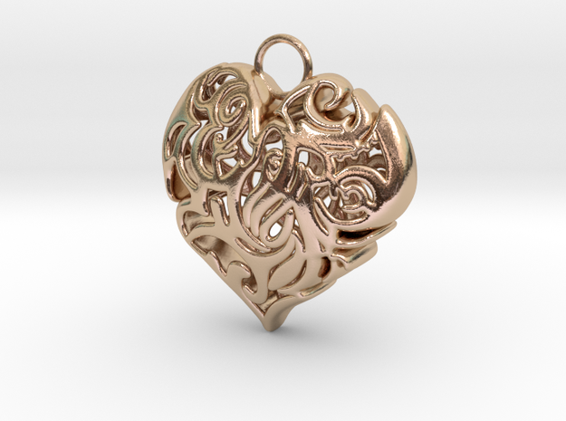 Heart Shaped Pendant in 14k Rose Gold Plated Brass