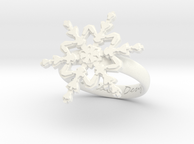 Snowflake Ring 2 d=17.5mm h35d175 in White Processed Versatile Plastic