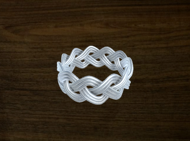 Turk's Head Knot Ring 3 Part X 11 Bight - Size 11. in White Natural Versatile Plastic