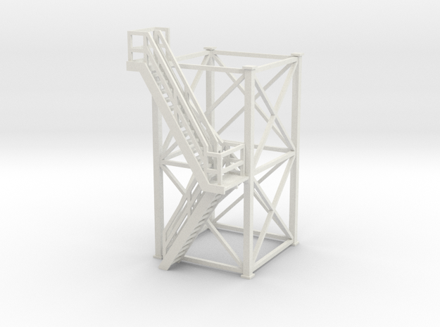 'HO Scale' - 10'x10'x20' Tower With Outside Stairs in White Natural Versatile Plastic