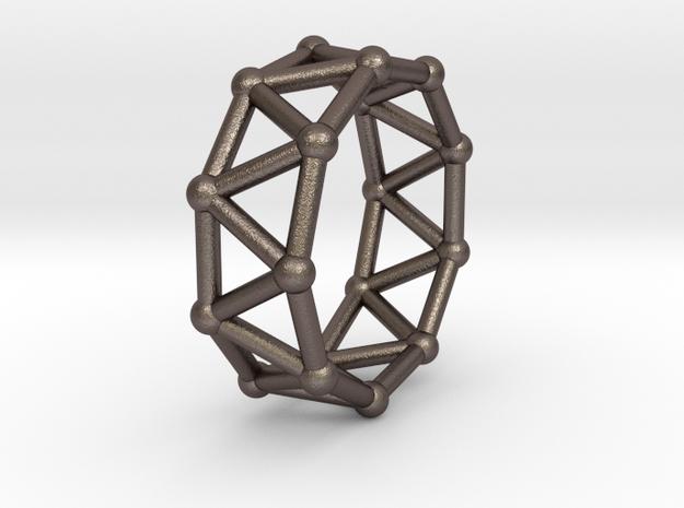 0425 Nonagonal Antiprism (a=1cm) #002 in Polished Bronzed Silver Steel