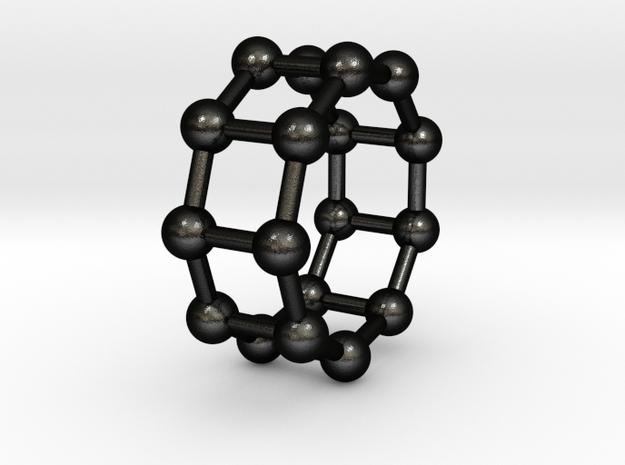 0429 Nonagonal Prism (a=1cm) #003 in Matte Black Steel