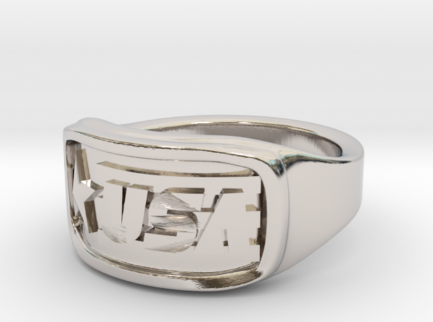 Ring USA 48mm in Rhodium Plated Brass