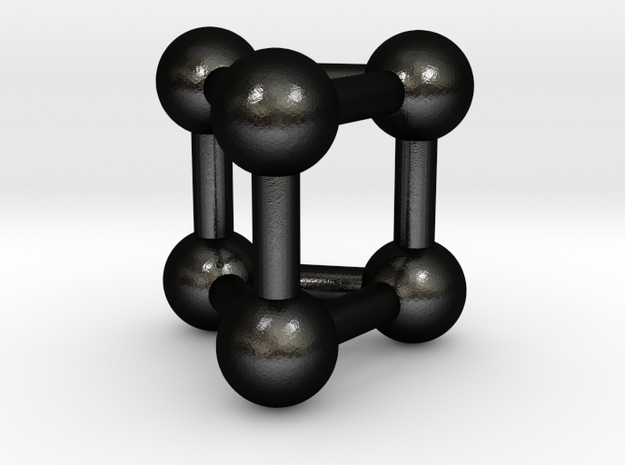 0447 Triangular Prism (a=1сm) #003 in Matte Black Steel