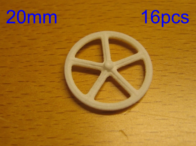 20mm wheels, 16pcs in White Strong & Flexible
