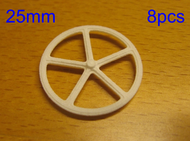 25mm wheels, 8pcs in White Strong & Flexible