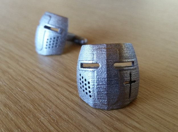 Knight Helmet Cufflinks in Polished Nickel Steel