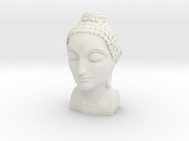 Bust of Buddha in White Natural Versatile Plastic