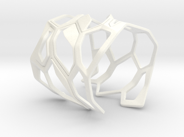 Exoskeleton Bracelet in White Strong & Flexible Polished