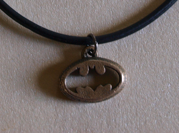 Batman Pendant in Polished Bronzed Silver Steel