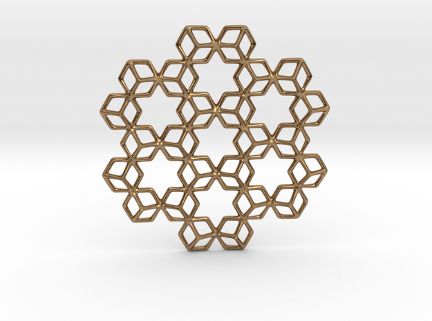 Hexagrammaton Pendant in Natural Brass