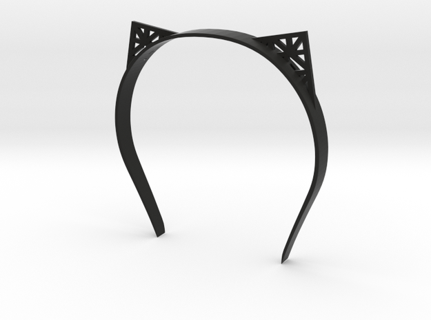 Cat Ears in Black Natural Versatile Plastic