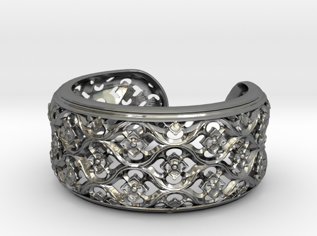 Gothic Bangle  Small in Polished Silver