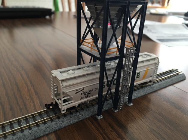 'N Scale' - 16'x16' Loadout Structure Frame in Smooth Fine Detail Plastic