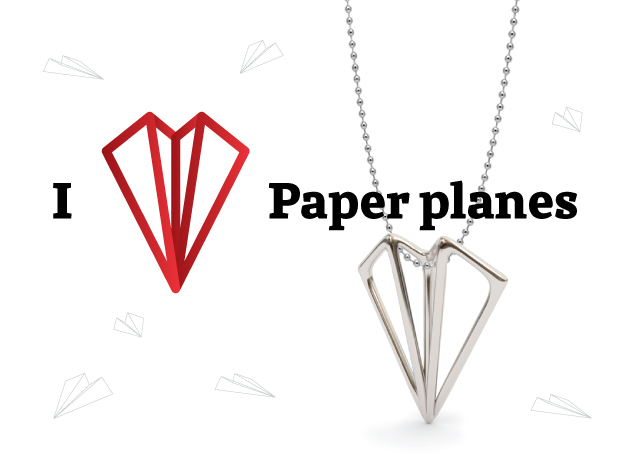 Paper Plane -necklace in Polished Bronzed Silver Steel