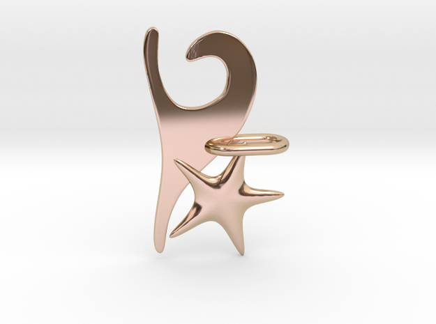 Wave and Starfish in 14k Rose Gold Plated Brass
